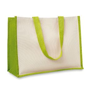 Nákupní taška z juty, plátno a bavlněná tkanina, dlouhá ucha, světle zelená