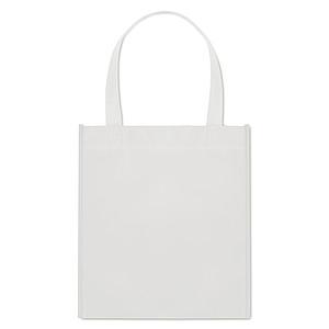 Netkaná nákupní taška s krátkými uchy. Svařené švy, 80 gr/m2, bílá