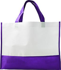 Nákupní taška z netkané textilie, bílo fialová
