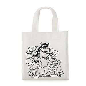 Netkaná mini nákupní taška se šesti fixami, 80 gr/m2, bílá