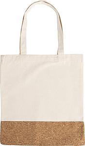 Bavlněná (280gr) nákupní taška s částí z korkové tkaniny