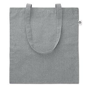 JACUBA Ekologická nákupní taška s dlouhými uchy, z recyklované bavlny, šedá papírová taška s potiskem