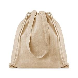Nákupní taška z recyklované bavlny se šňůrkami a dlouhými uchy, béžová