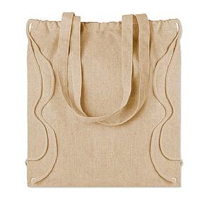LAGAN Ekologická nákupní taška z recyklované bavlny se šňůrkami a dlouhými uchy, béžová