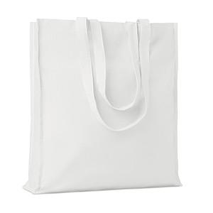 Bavlněná nákupní taška, dlouhá ucha, s cvočkem, bílá