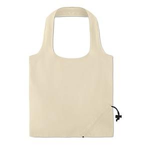 Skládací nákupní taška z bavlny s krátkými uchy a skládáním do kapsičky