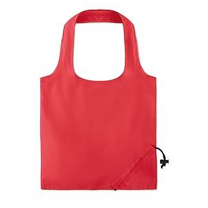 Skládací nákupní taška z bavlny s krátkými uchy a skládáním do kapsičky, červená