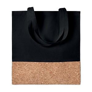 Nákupní taška s korkovým detailem, černá
