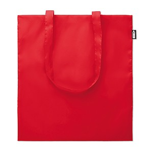 REYNA Ekologická nákupní taška s dlouhými uchy, z recyklovaných PET lahví, červená papírová taška s potiskem