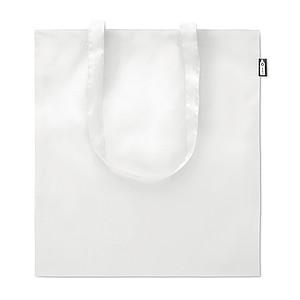 Nákupní taška s dlouhými uchy vyrobená z recyklovaných PET lahví, bílá