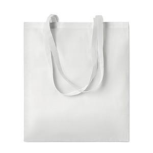Nákupní taška z polycottonu, vhodná pro sublimaci, dlouhá ucha, bílá