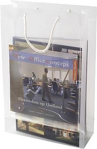 Transparentní taška, velikost A4 s bílými kroucenými uchy papírová taška s potiskem