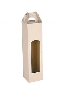 CADDY kartonová krabice na jednu láhev, bílá papírová taška s potiskem