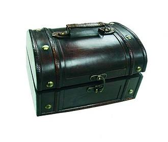 LAPOLINA dárková dřevěná truhla, mikro 18 x 13 x 10 cm papírová taška s potiskem