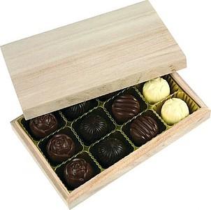 PRALINKY Dřevěná krabička s mixem pralinek 130g
