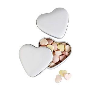 LOVEMINT Sladké bonbóny v plechové krabičce ve tvaru srdce, bílá