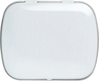 BOXÍK Plechová krabička s mintovými bonbony, bílá