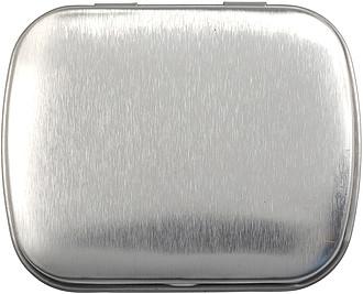 BOXÍK Plechová krabička s mintovými bonbony, stříbrná