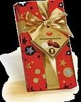 Pralinky 100g, červený vánoční papír se zlatou stuhou