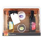 Dárkový set - dřevěné prkénko, lahev oleje a octa, černý pepř a hrubozrnná sůl, vícebarevný