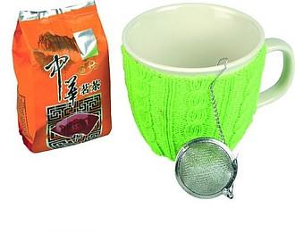 VS GOA SADA Čajová sada, hrnek se zeleným návlekem a sypaný čaj - reklamní hrnky