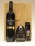 Dárková taška s vínem, šunkou a olivami