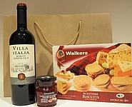 Dárková taška s vínem, sušenkami a chutney