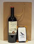 Sada červeného italského vína a paštiky v dárkové tašce