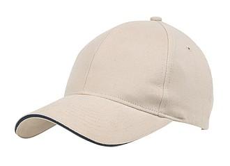 GILES Bavlněná kšiltovka, 6 panelů, béžová - reklamní čepice