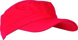 SCHWARZWOLF VALI softshellová čepice s kšiltem, červená – reklamní peněženka s potiskem