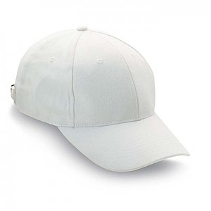 SKATE 6ti panelová bavlněná baseballová čepice, bílá