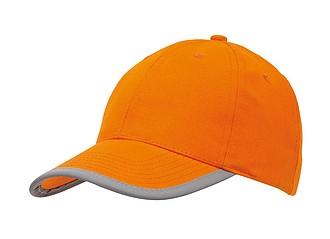 Kšiltovka s reflexním pruhem, oranžová