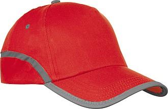 Bavlňená kšiltovka pětipanelová reflexní proužek, červená