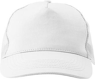 Pětipanelová čepice, zadní panely ze síťoviny, bílá - reklamní čepice