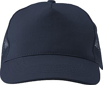 Pětipanelová čepice, zadní panely ze síťoviny, modrá - reklamní čepice