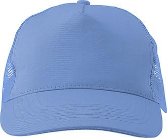 Pětipanelová čepice, zadní panely ze síťoviny, světle modrá - reklamní čepice