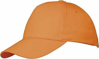 Bavlněná pětipanelová kšiltovka, oranžová