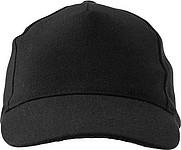 Pětipanelová čepice s vyztuženým předním panelem, černá - reklamní čepice