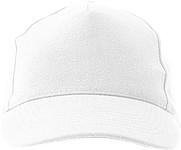 Pětipanelová čepice s vyztuženým předním panelem, bílá - reklamní čepice
