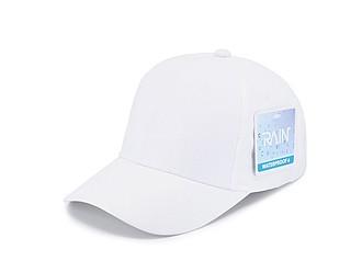 IRSINA Nepromokavá sportovní čepice se šesti panely a vyztuženým čelem, bílá - reklamní čepice