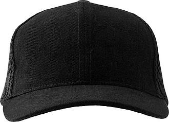 Šestipanelová čepice, zadní panely ze síťoviny, černá - reklamní čepice
