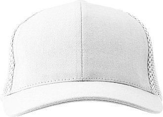 Šestipanelová čepice, zadní panely ze síťoviny, bílá - reklamní čepice