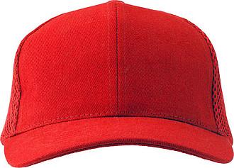 Šestipanelová čepice, zadní panely ze síťoviny, červená - reklamní čepice