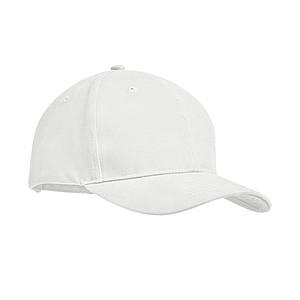 6 panelová kšiltovka z pevné česané bavlny, bílá - reklamní čepice