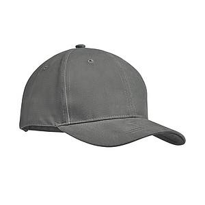 6 panelová kšiltovka z pevné česané bavlny, šedá - reklamní čepice