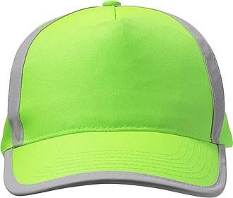 Pětipanelová kšiltovka, reflexní pruhy, zelená