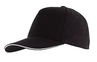AMANAS Pětipanelová čepice s bílým sendwichem, černá