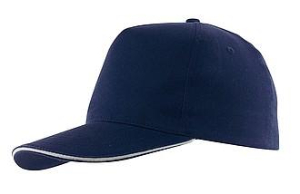 AMANAS Pětipanelová čepice s bílým sendwichem, tmavě modrá