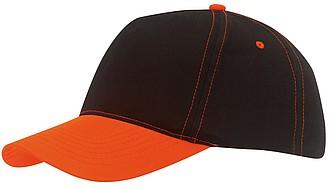 Pětipanelová černá kšiltovka s oranžovým prošíváním a kšiltem