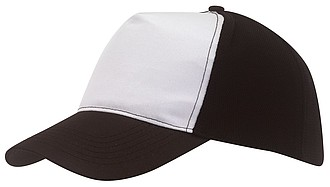 Pětipanelová kšiltovka s bílým předním panelem, černá